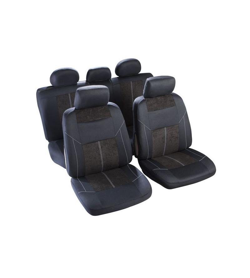 Housse sièges Noir et piqûres blanches T5