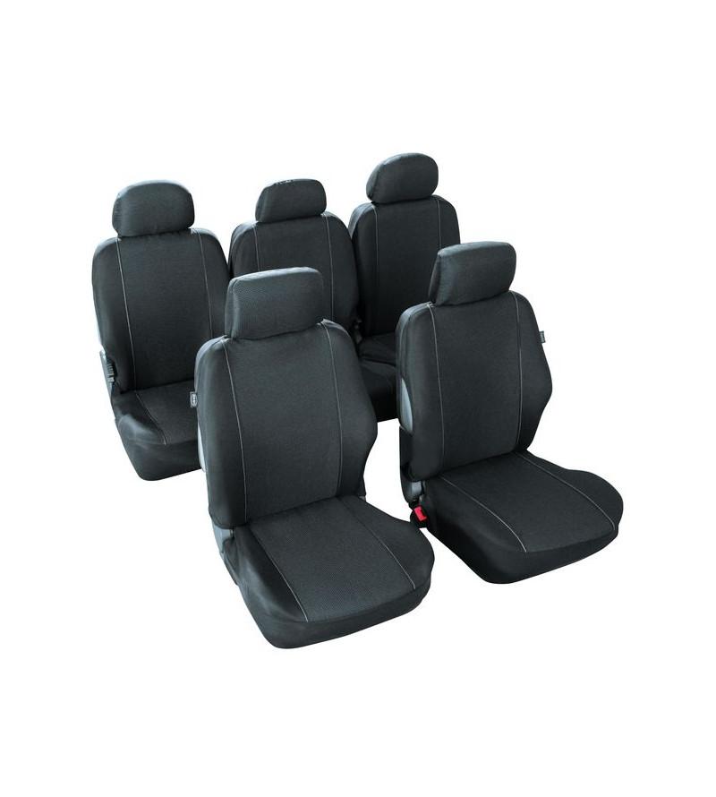 Housse de siège monospace - Tweed noir piqûres blanches
