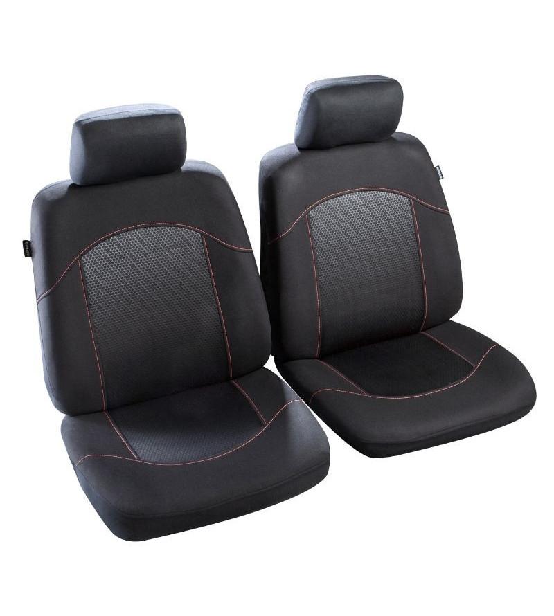 Housses de sièges auto Flaine - Noir et surpiqûre Rouge
