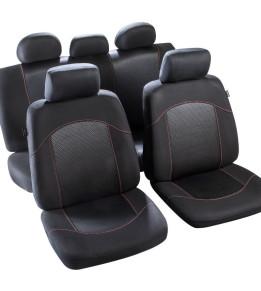 Housses de sièges avant et banquette - Flaine Noir/Rouge