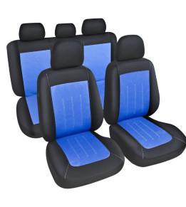 Housses de sièges avants et banquette - Liberia Noir/Bleu